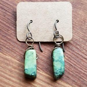 Chrysocolla chunk earrings